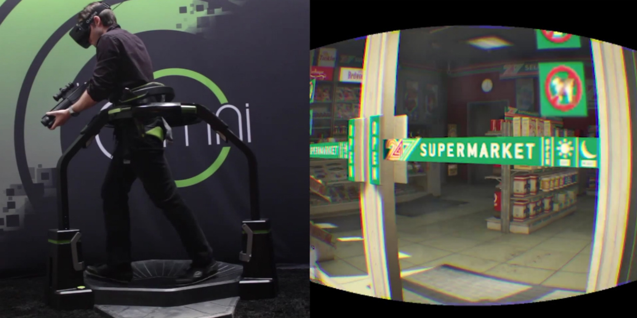 Screengrab from a YouTube video, demoing the Virtuix Omni VR system.