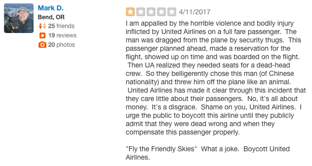 United Yelp review