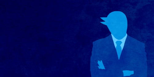twitter  bird dressed up in a business suit