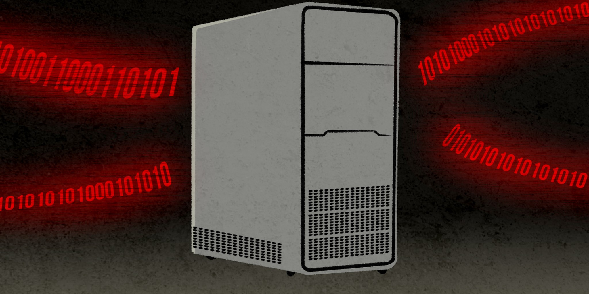 illustration of a computer server with data creeping up on it