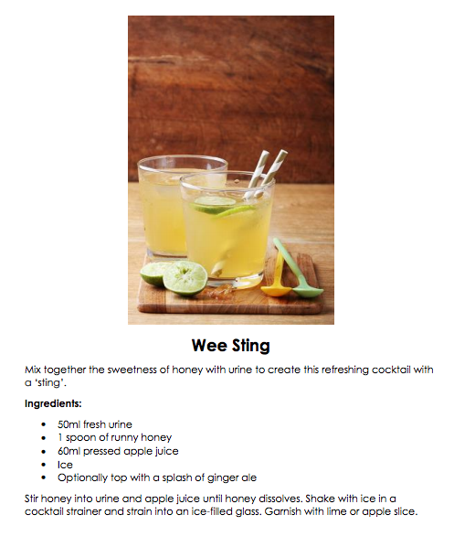 We dare you to try a recipe from this urine cocktail guide | The