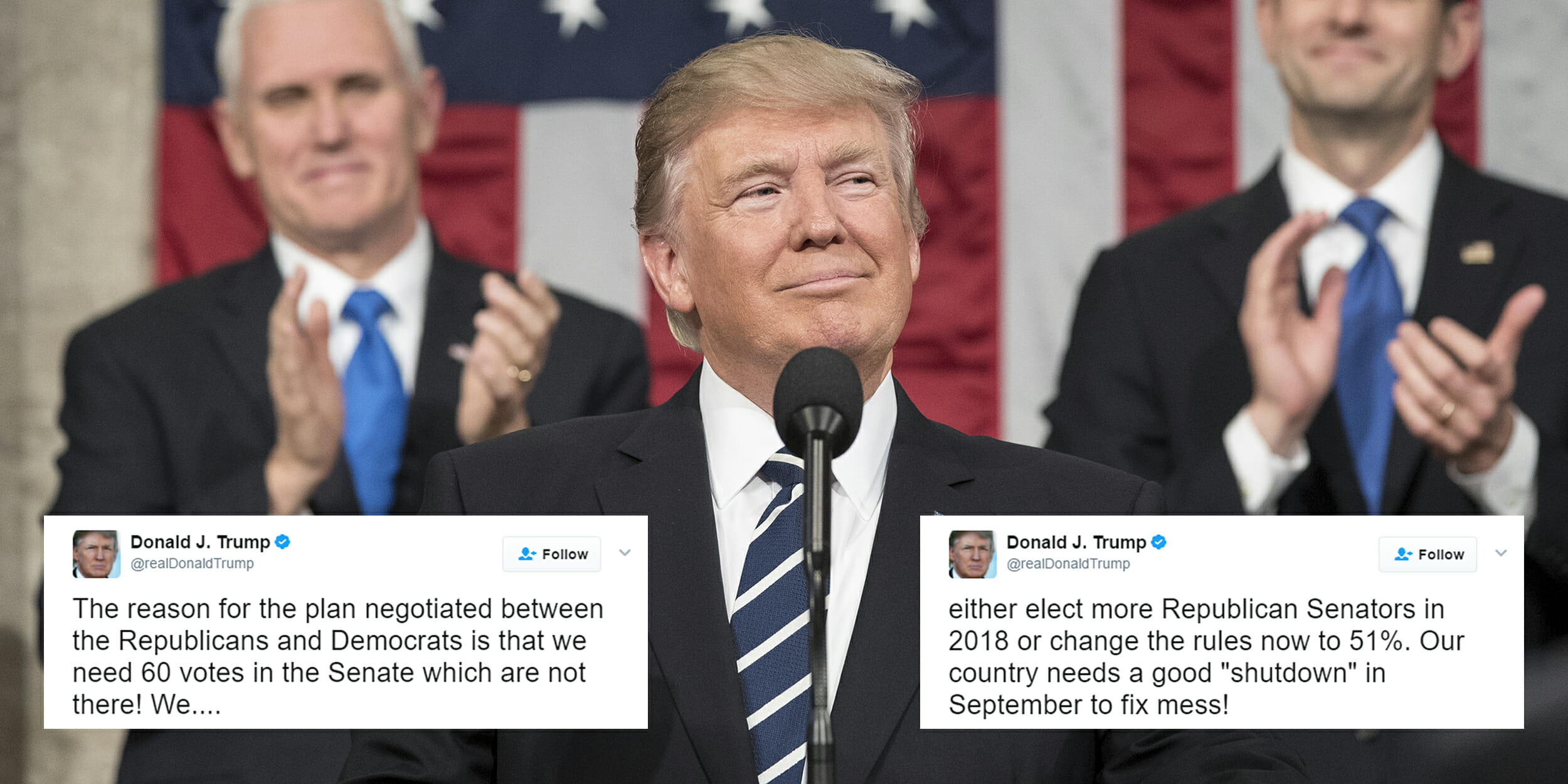 Donald Trump tweeting about filibuster rules
