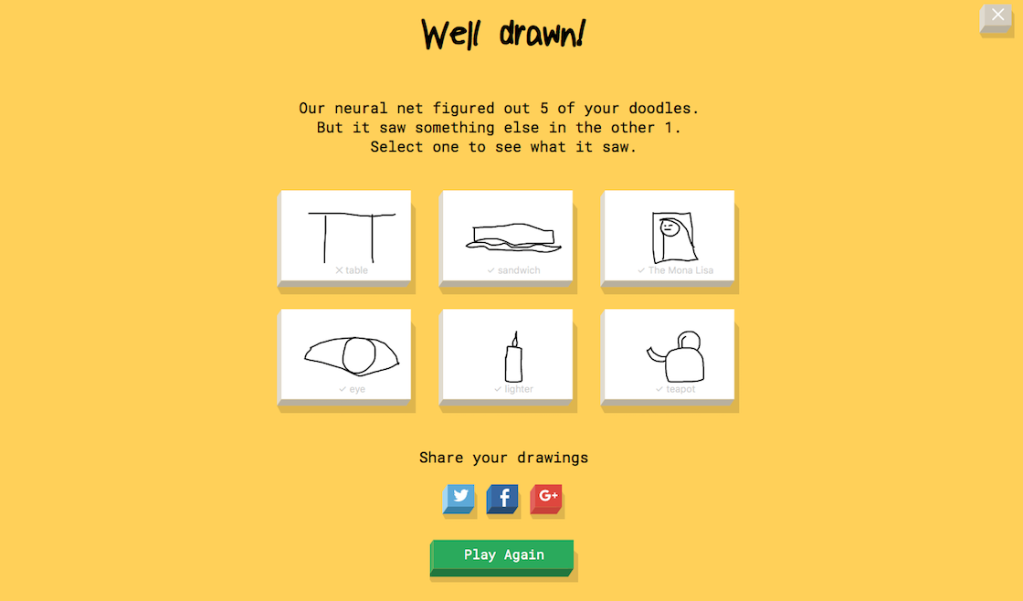 Google's Quick, Draw! results