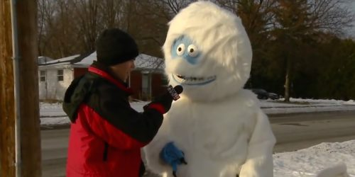 abominable snowman interviewed while walks dog
