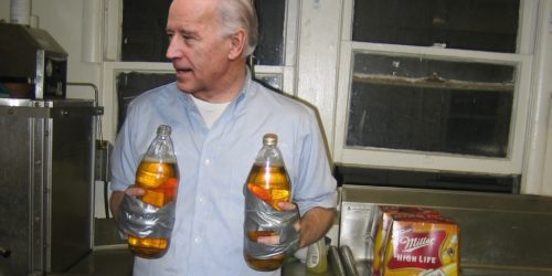 Bro Biden with two 40-oz bottles duct taped to his hands