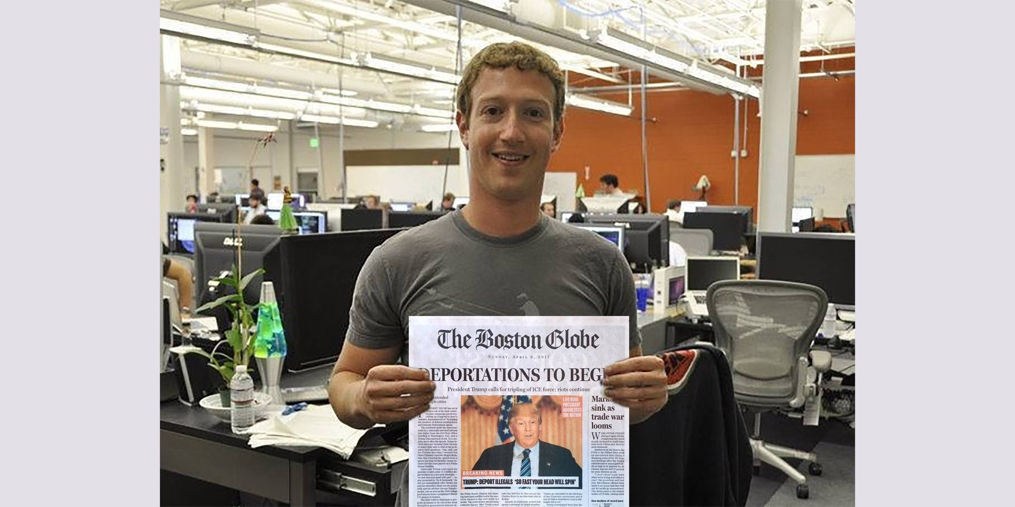 mark zuckerberg holding fake boston globe