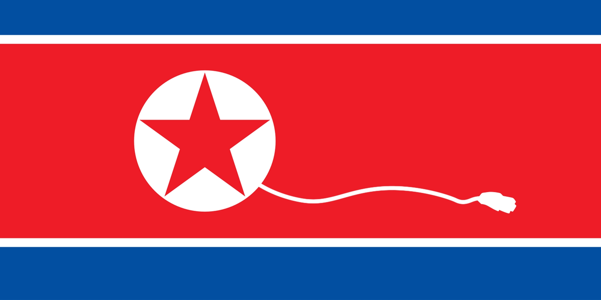 North Korean Flag With Unplugged Internet Cable Coming From Star