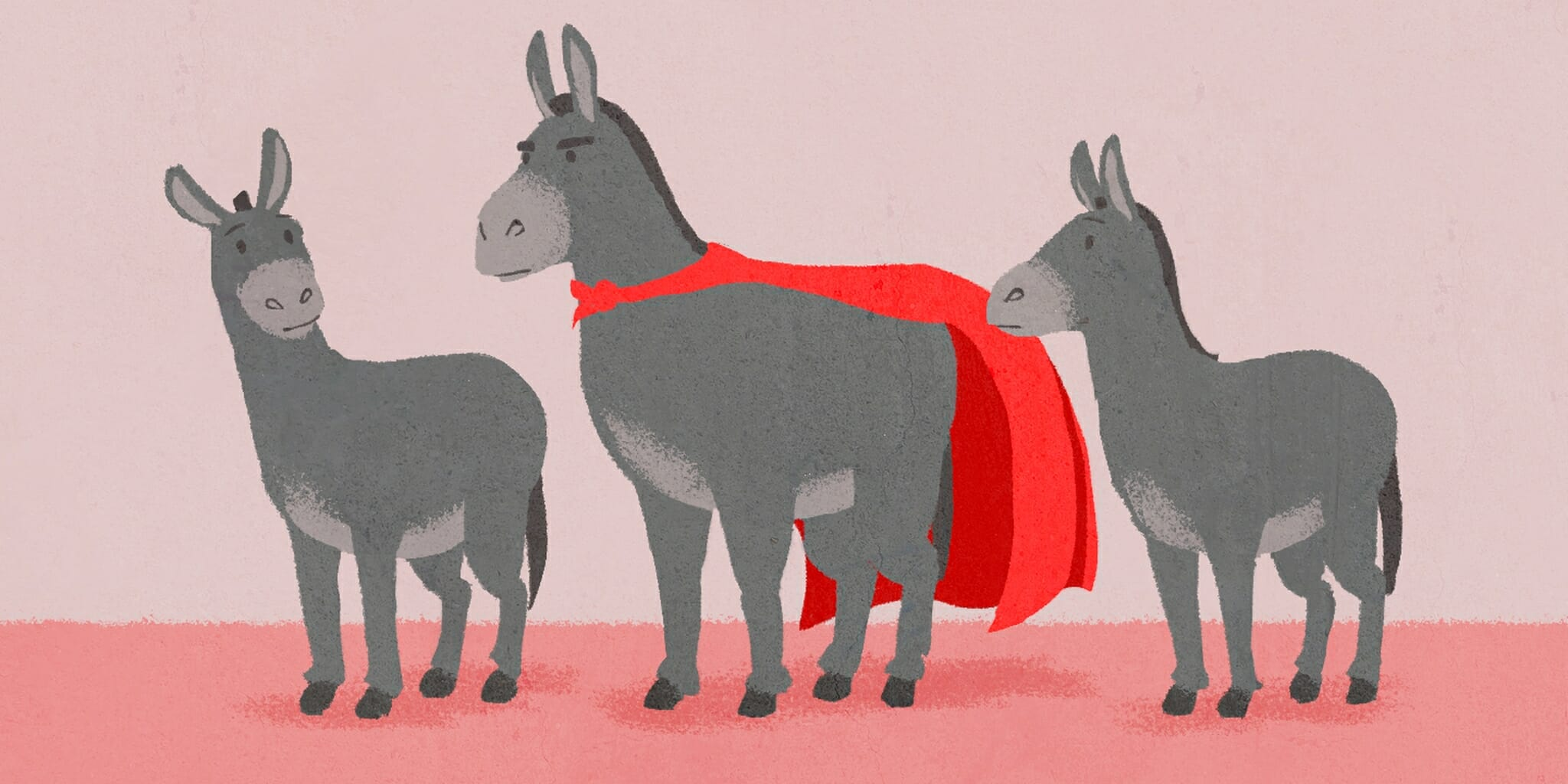 three donkeys; two are normal and the third is dressed up in a superhero  costume