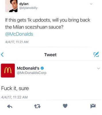 rick and morty meme : tweet asking mcdonalds to bring back szechuan sauce