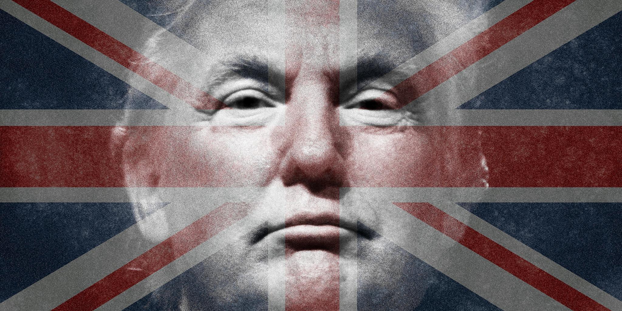 Donald Trump with Union Jack flag overlay