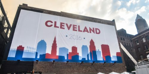 A sign promoting the Republican National Convention in Cleveland