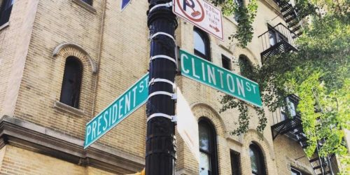 President and Clinton Streets intersection New York Hillary Clinton election
