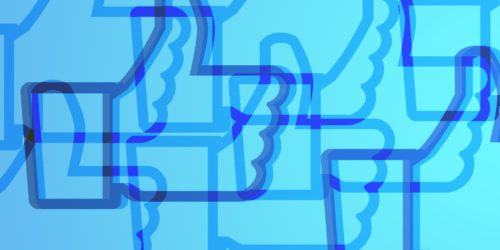 abstract art of the facebook like symbol