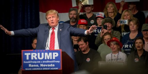 Donald Trump at a rally in Nevada