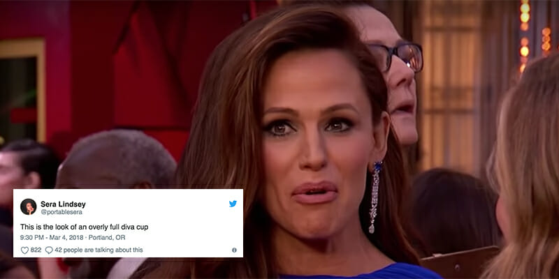 A viral video shows Jennifer Garner appearing to realize something during the Oscars.