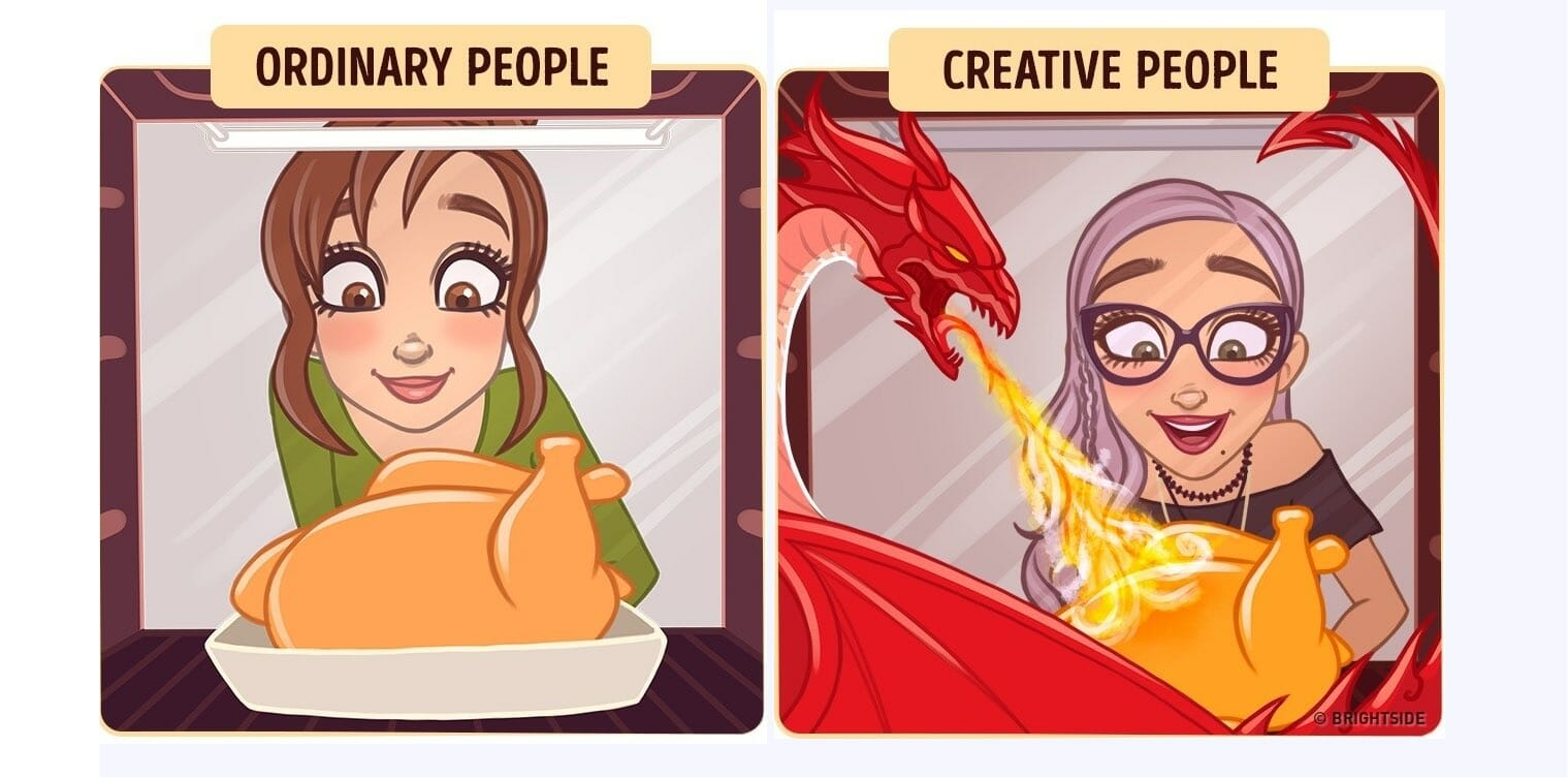 ordinary vs creative dragon cooking a turkey