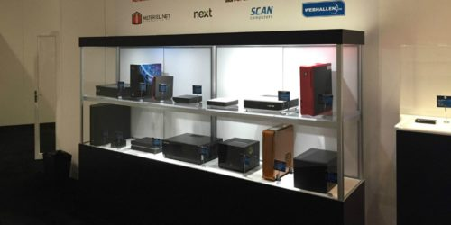 Photo of the Steam Machine display at Valve Software's GDC 2015 show area.