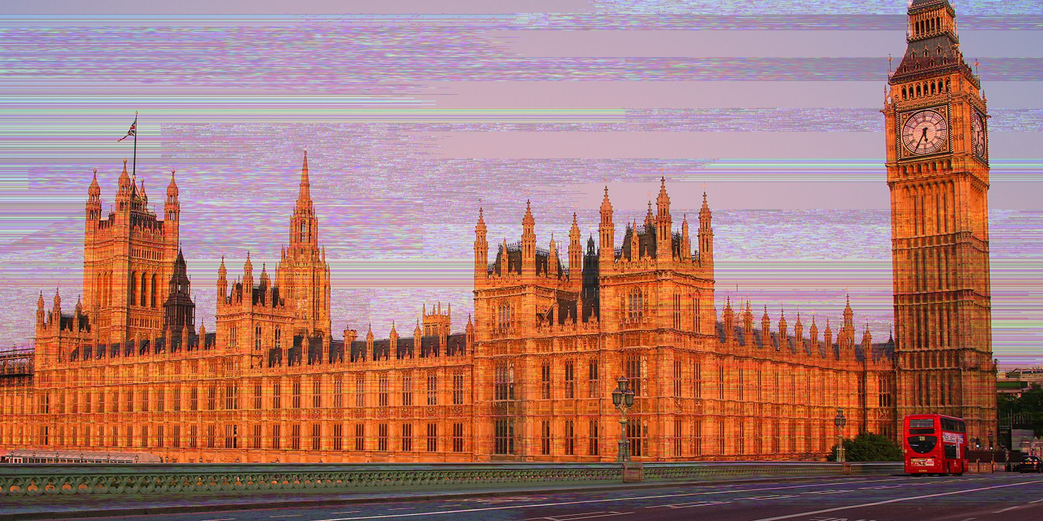 British Houses of Parliament with glitch overlay
