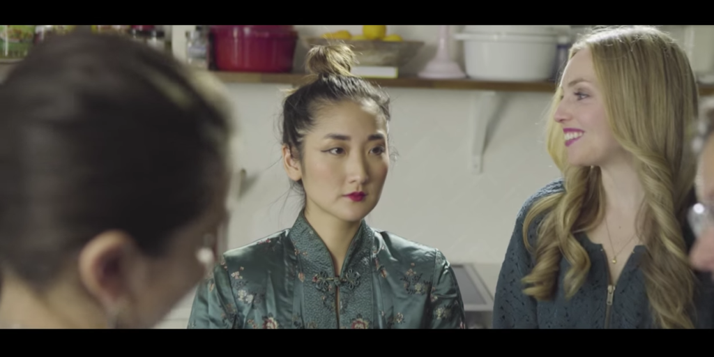 SJ Son acts out an example of racism she faces in the Quiet Tiny Asian YouTube Series.