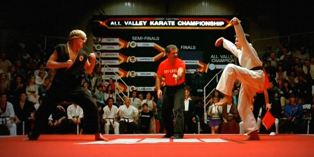 crackle movies - karate kid - Daniel-san prepares for the crane kick in the original Karate Kid film