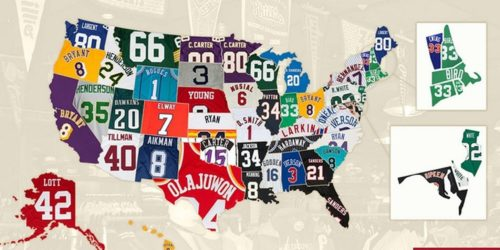 Retro jerseys map by state