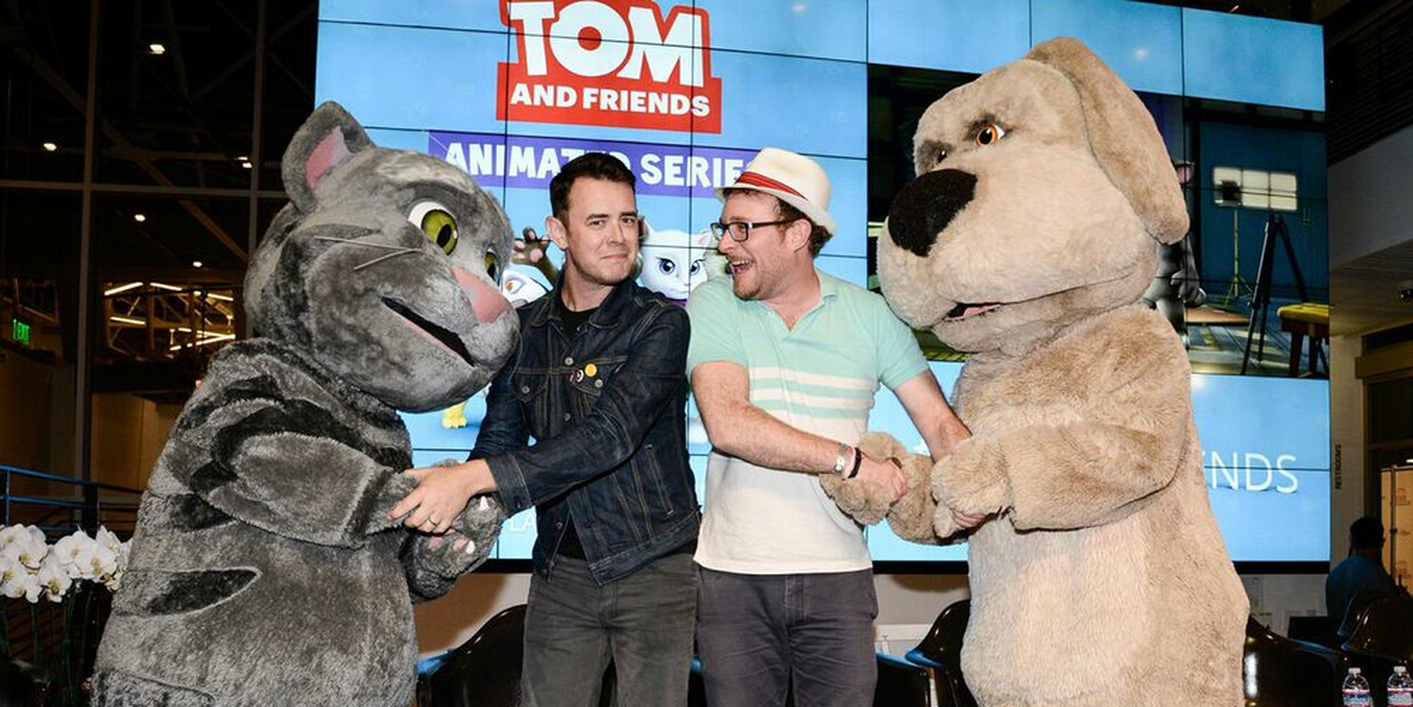 Voice actors from talking tom meet their animal counterparts