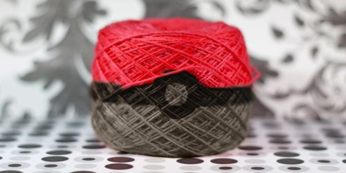 yarn ball colored like a pokeball