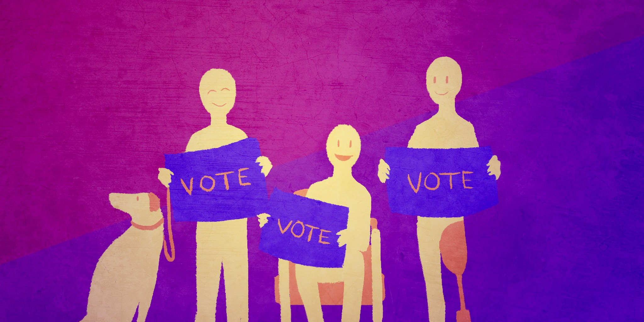 people with various disabilities holding vote sinds