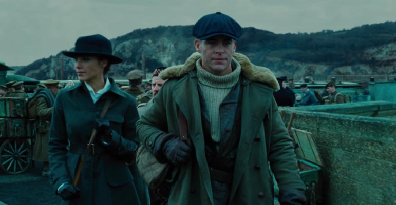 wonder woman cast: Gal Gadot as Wonder Woman with Chris Pine as Steve Trevor