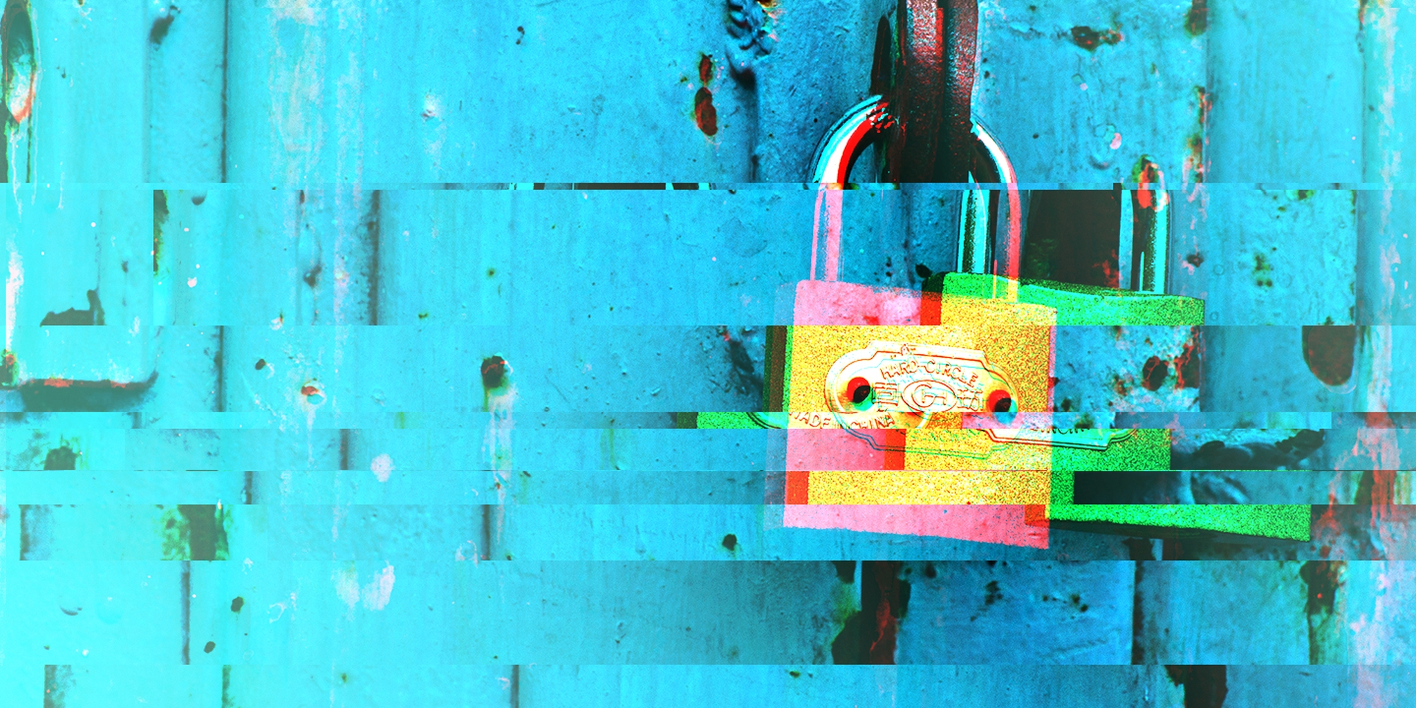 glitched image of a lock