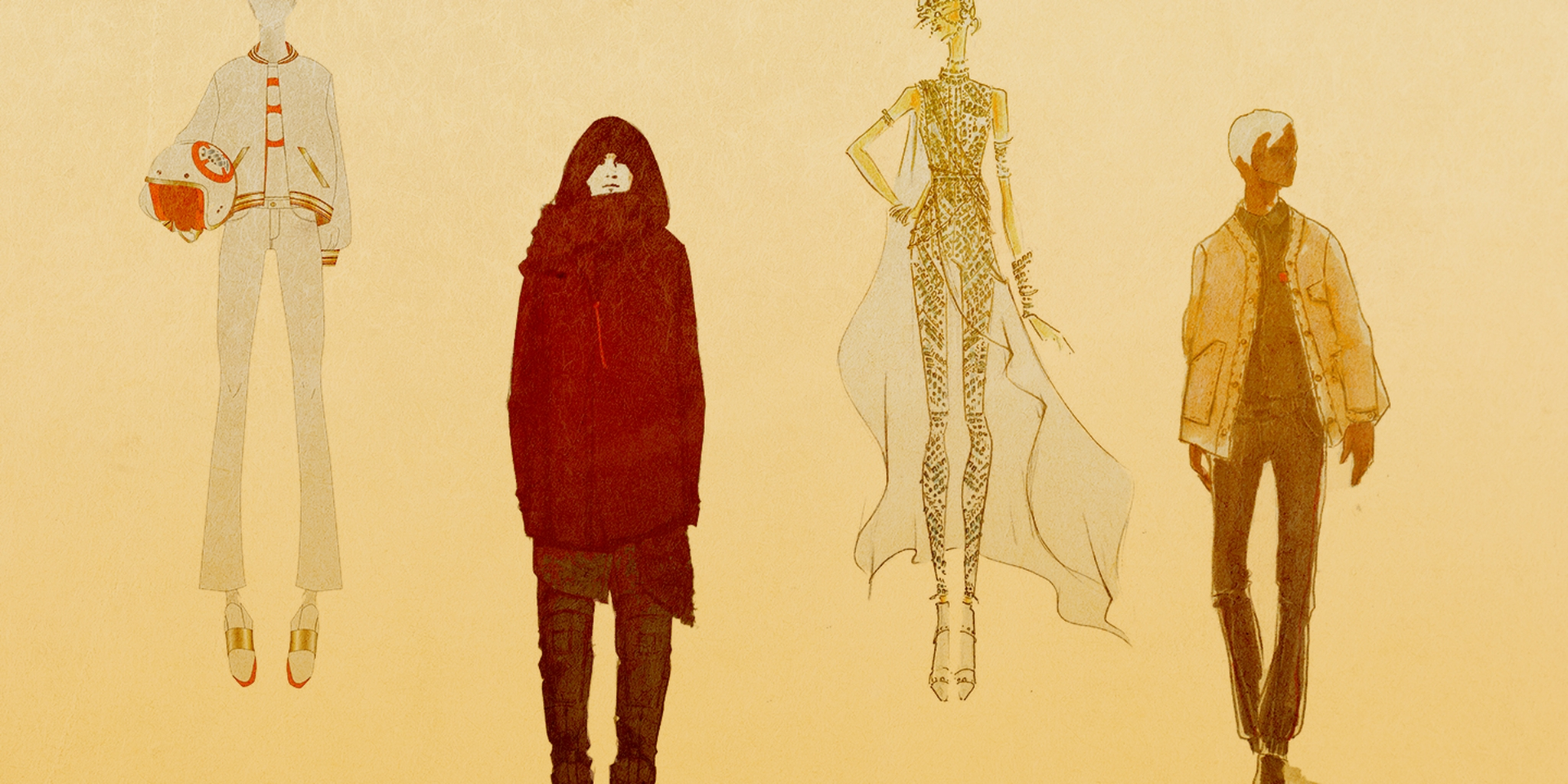 illustration of various star wars-themed fashion outfits