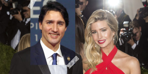 Justin Trudeau taped onto picture with Ivanka Trump