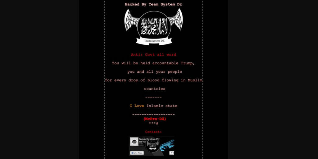 Websites in New York, Ohio and Maryland were hacked with a pro-ISIS message.