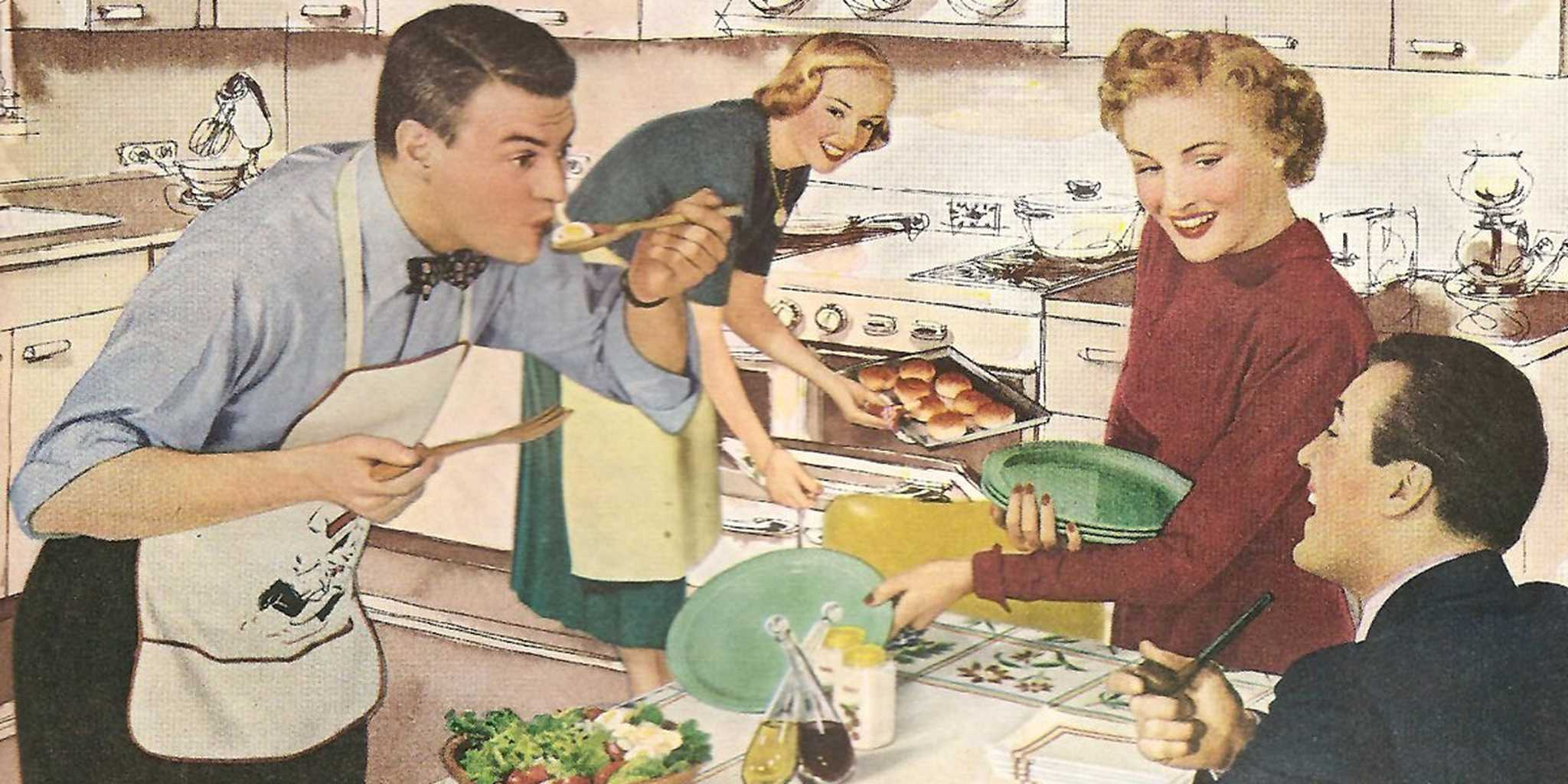 Helping in the kitchen vintage image