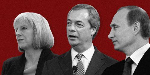 Theresa May, Nigel Farage, and Vladimir Putin