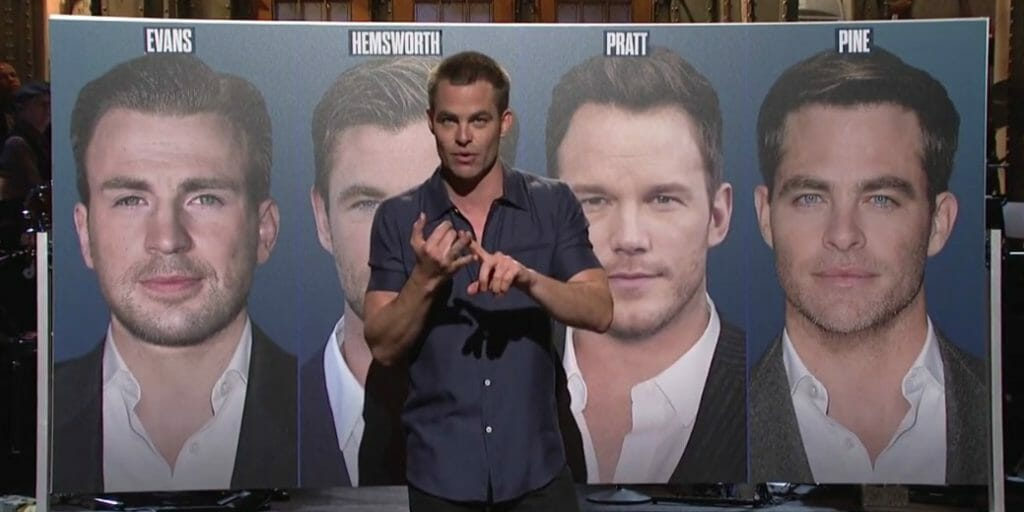 Chris Pine SNL monologue Hemsworth Pratt