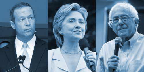 Martin O'Malley, Hillary Clinton and Bernie Sanders