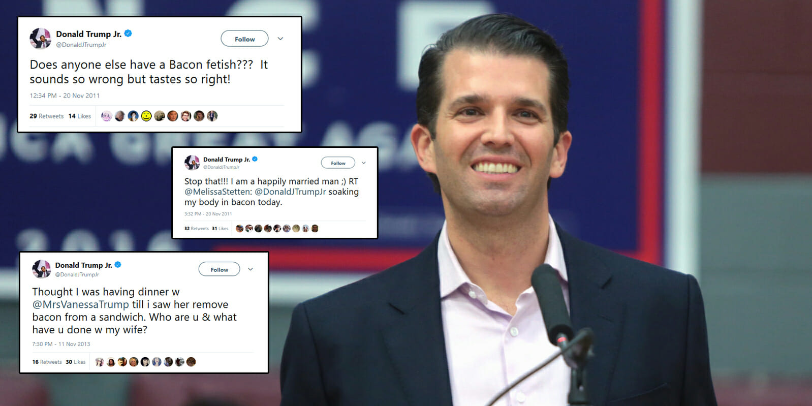A former model shared screenshots from Donald Trump Jr. on Thursday night showing a strange bacon-fueled message from the businessman–but a quick scan of his Twitter shows that his 'bacon fetish' and love for the meat has been brought up a lot.