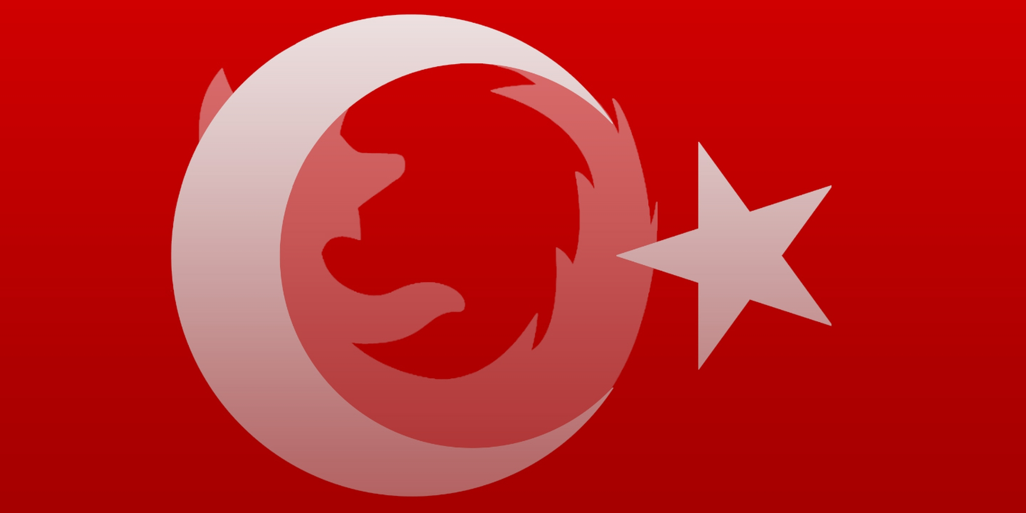 abstract art of the turkish flag with the firefox logo