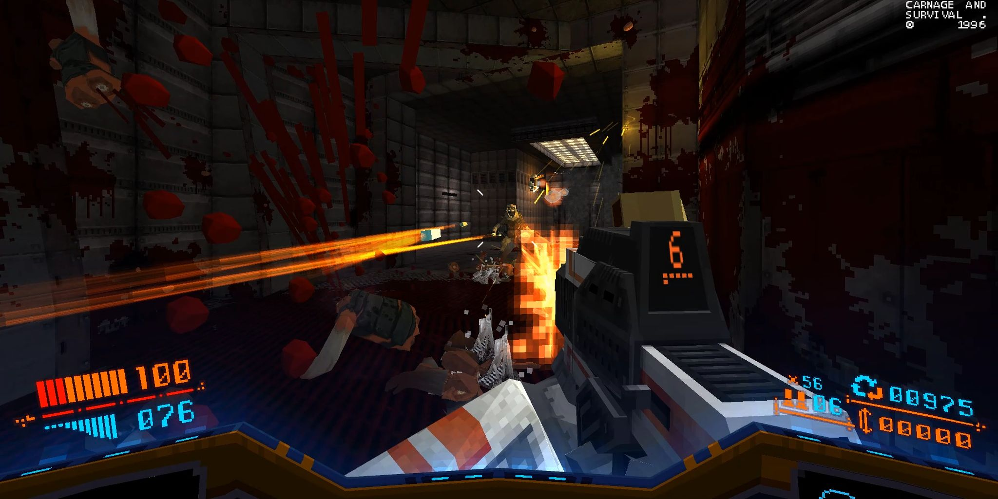 Promotional image of a gun battle for the first person shooter Strafe.