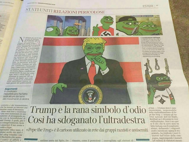An Italian newspaper reporting on Donald Trump retweeting himself depicted as Pepe the Frog in September 2016.