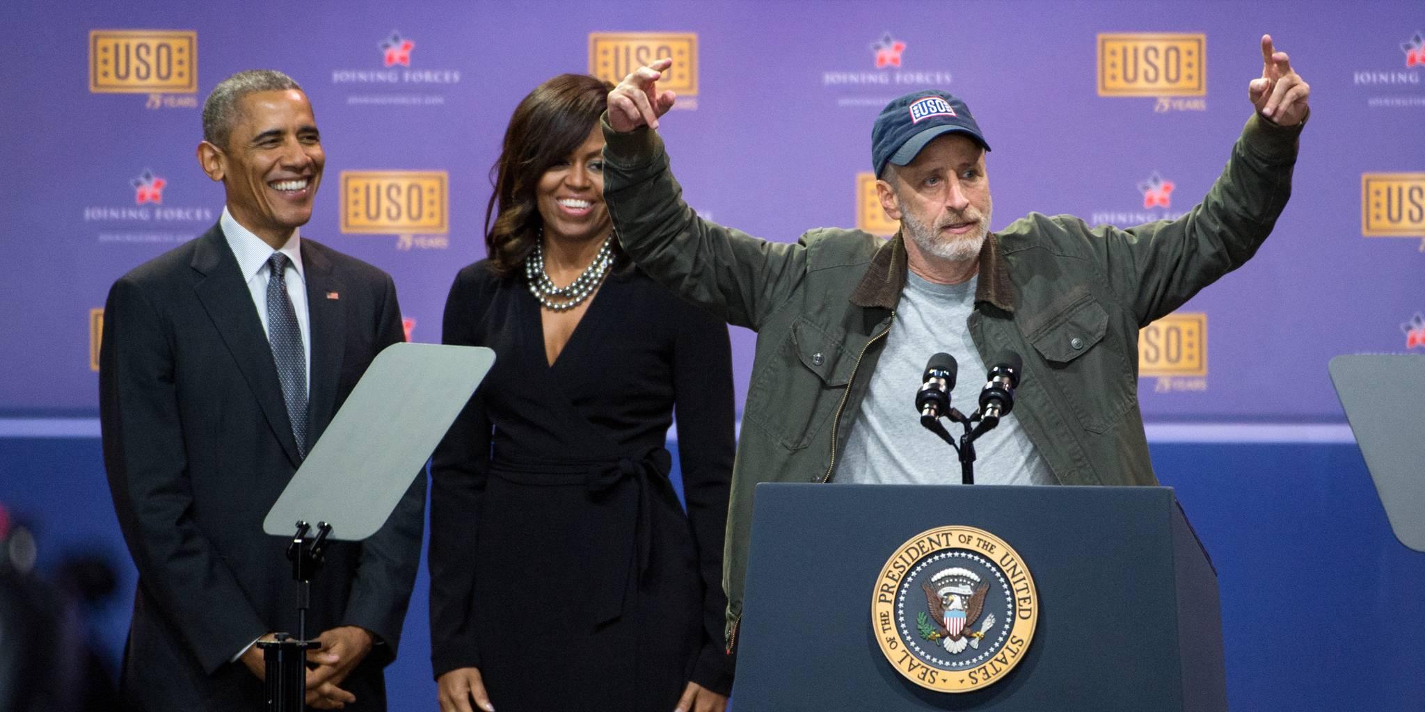 jon stewart with the obamas
