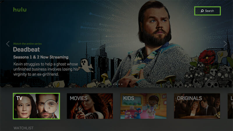 best apps on apple tv : Hulu search and navigation screen