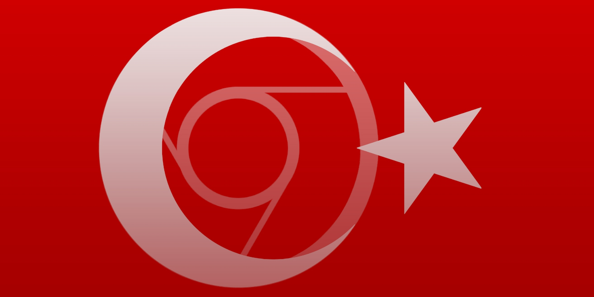 abstract art of the turkish flag with the google chrome logo