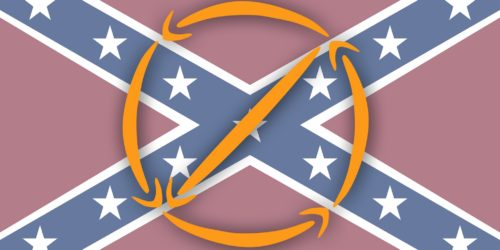 Amazon logo forming universal 'no' symbol over confederate flag