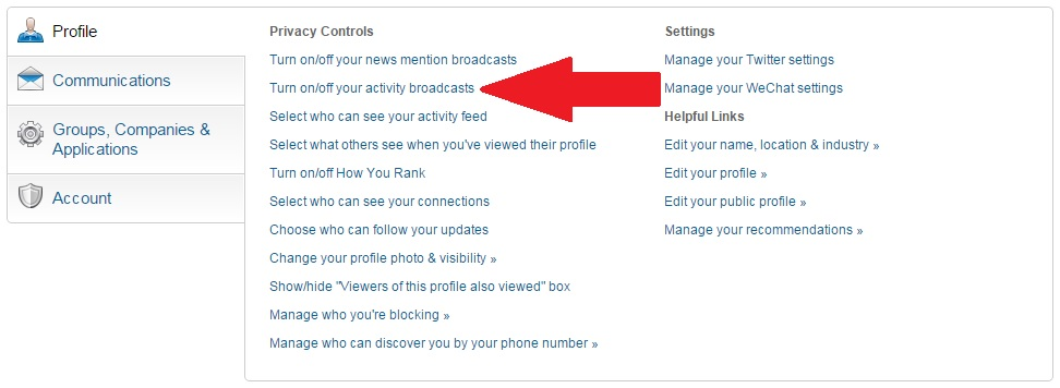 How to update LinkedIn without sending notifications