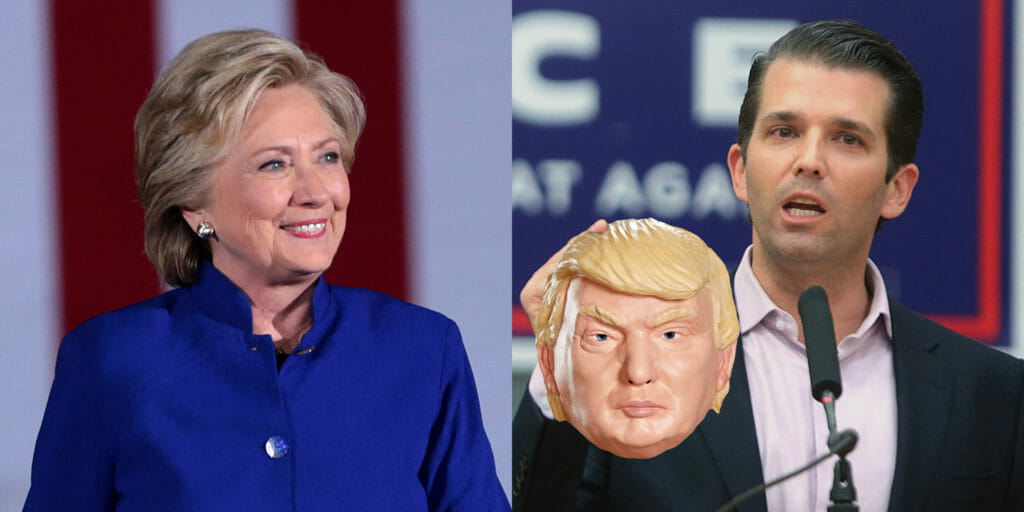 Hillary Clinton with Donald Trump Jr holding a Trump mask