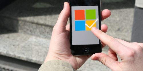 smartphone with a microsoft voting system on screen