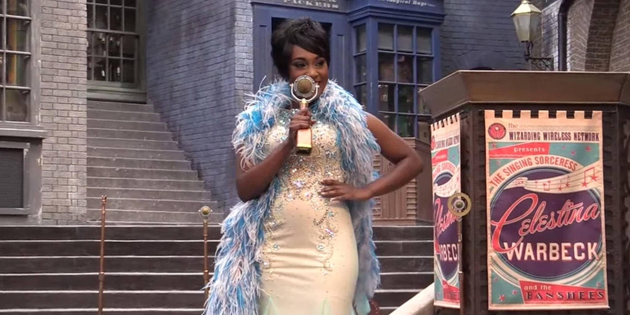 celestina warbeck with microphone
