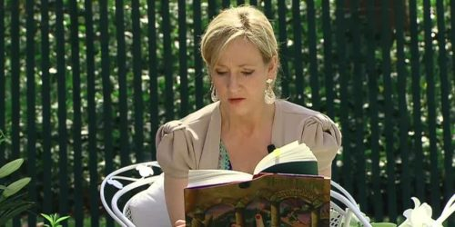 J.K. Rowling reading Harry Potter book